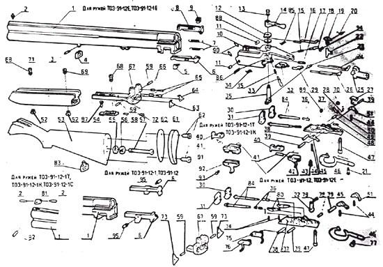 сборочные детали ружья тоз 91
